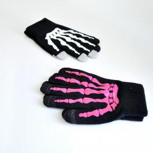 Перчатки для сенсорного дисплея Скелет розовые