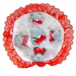 Букет из игрушек Тедди Love красно-белый с кружевом