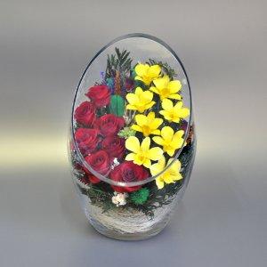 Композиция из натуральных роз и орхидей (ArLM2)