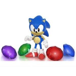 Набор Соник и 4 кристалла - Sonic with chaos emeralds (свет) 13см
