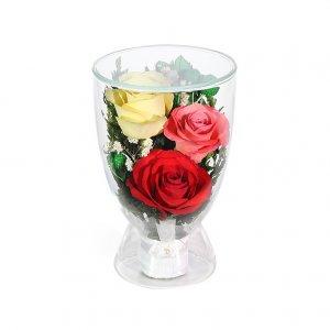 Композиция из красных, желтых и розовых роз (CuLR5с)
