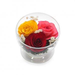 Композиция из красных, желтых и розовых роз (CuSr5с)