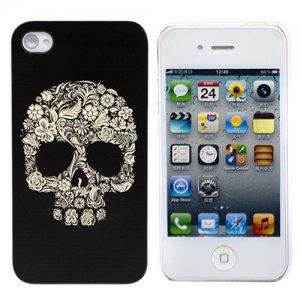 Пластиковый чехол Flower scull (черный) Для iPhone 4\4s