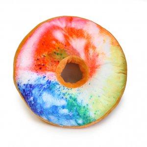 Подушка-пончик в радужной глазури 35 см
