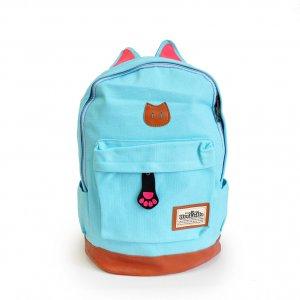 Рюкзак с кошачьими ушками светло-голубой
