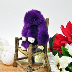 """Брелок """"Кролик"""" из меха, фиолетовый"""