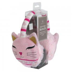Наушники согревающие Cat вязаные розовые