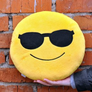"Подушка Emoji ""Sunglasses Emoji"" 27 см ярко-желтая"