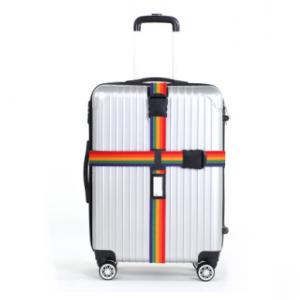 "Ремень на чемодан ""Happy travel"" радужный"