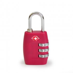 Кодовый навесной замок на чемодан ТSA малиновый