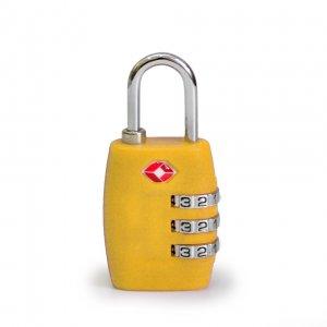 Кодовый навесной замок на чемодан ТSA жёлтый