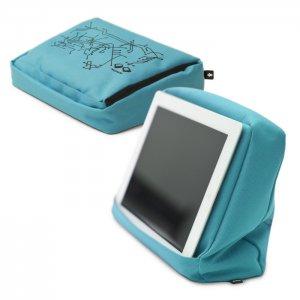 Подушка-подставка с карманом для планшета Hitech голубая-черная