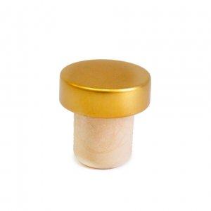 Деревянная пробка для бутылки золотая