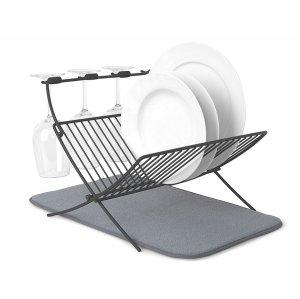 Сушилка для посуды c ковриком Xdry серая