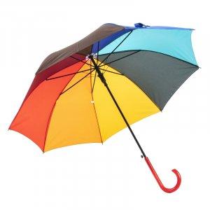 """Зонт-трость """"Радуга"""" красная ручка"""
