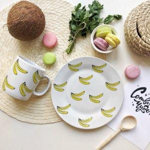 Набор посуды Бананы (2 в 1: кружка+тарелка)