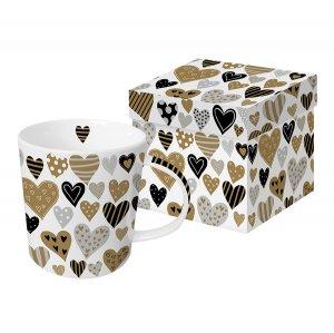 Кружка в подарочной упаковке Golden Hearts 350 мл с настоящим золотом