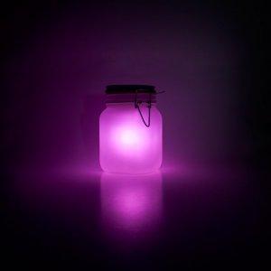 Светящаяся банка на солнечной батарее розовая