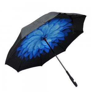 Зонт наоборот Голубой цветок