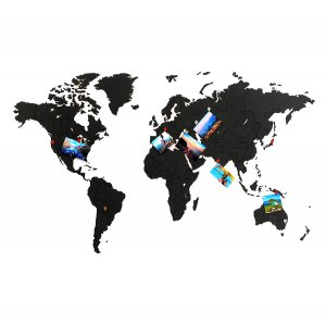 Карта-пазл World map true puzzle 100х60 см, черная