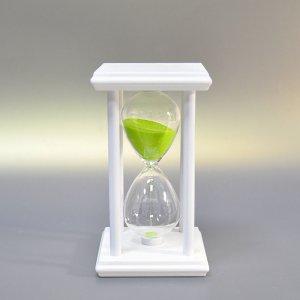Песочные часы на подставке 15 минут с салатовым песком