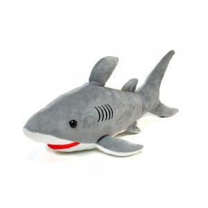 Мягкая игрушка Акула 45 см светло-серая