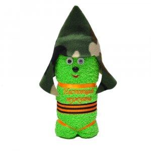 """Полотенце """"Солдатик"""" (Настоящий мужчина) зеленый с улыбкой"""