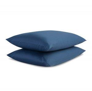 Набор из двух наволочек из сатина темно-синего цвета, 70 x 70 см