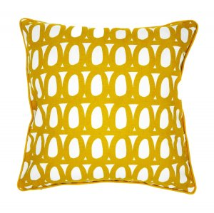 Чехол для подушки с двустронним принтом Twirl горчичного цвета и декоративной окантовкой