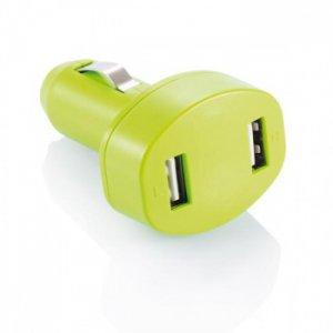 Зарядное устройство USB для автомобиля двойное розовое