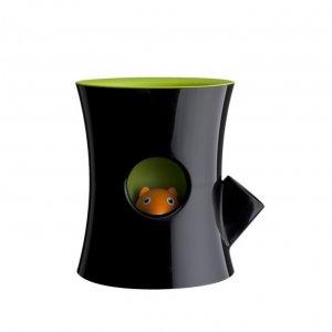 Кашпо самополивающееся Log&Squirrel черно-зеленое