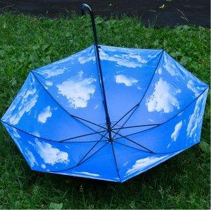 """Зонт """"Небо с облаками"""" черный"""